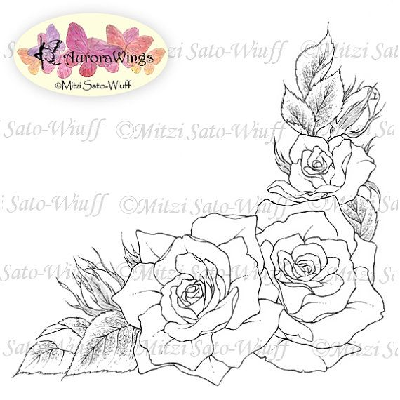 Digital Stamp Rose Corner Frame Instant Download Roses In Corner Arrangement Floral Line Art For Cards Craf Roses Drawing Flower Drawing Rose Drawing