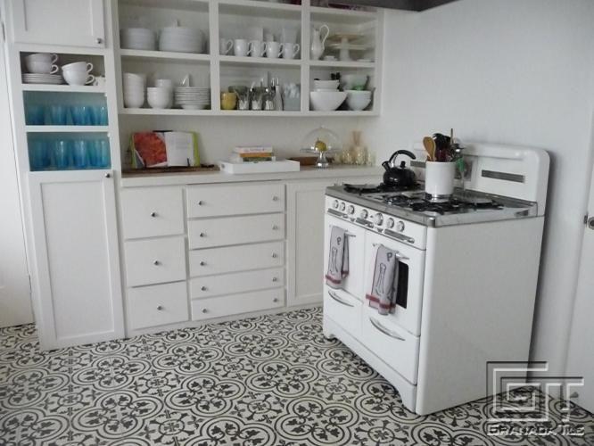 love this floor. different. new. classic. adrianna lopez' kitchen
