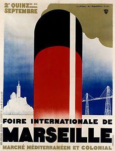 Paramount Prints MARSEILLE,France - Art Deco Vintage Travel
