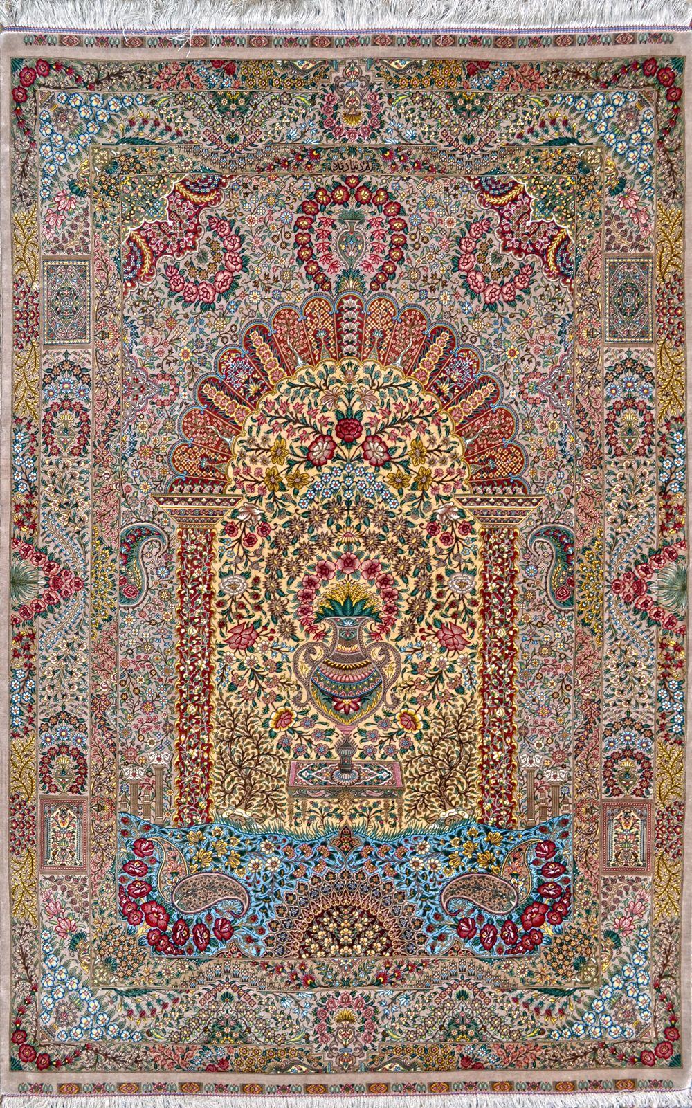 Flower Vase Mehrabi Design Qum Pure Silk Silk Persian Rug Item Hf 1431 Silk Persian Rugs Rugs Persian Rug