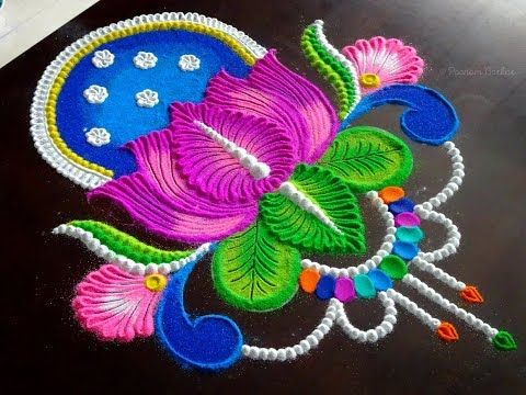 Lotus rangoli for Navratri and Diwali | Easy rangoli design for festivals
