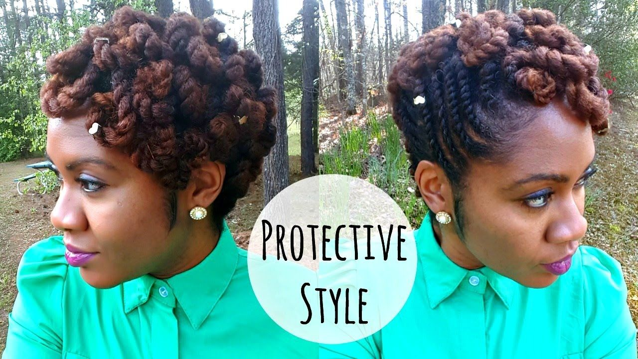 flat twist hairstyle w/ pin curls | protective style