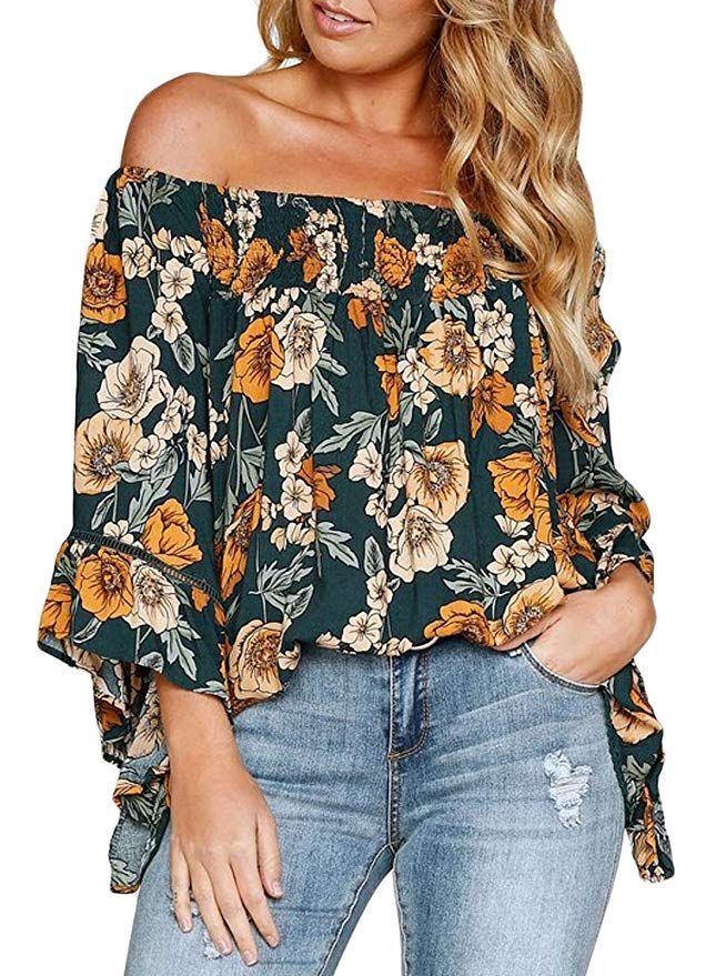d668f6705fd Women Plus Size Off Shoulder 3 4 Sleeve Tops Floral Boho Loose Casual Blouse  Shirts XX-Large Floral - Floral print