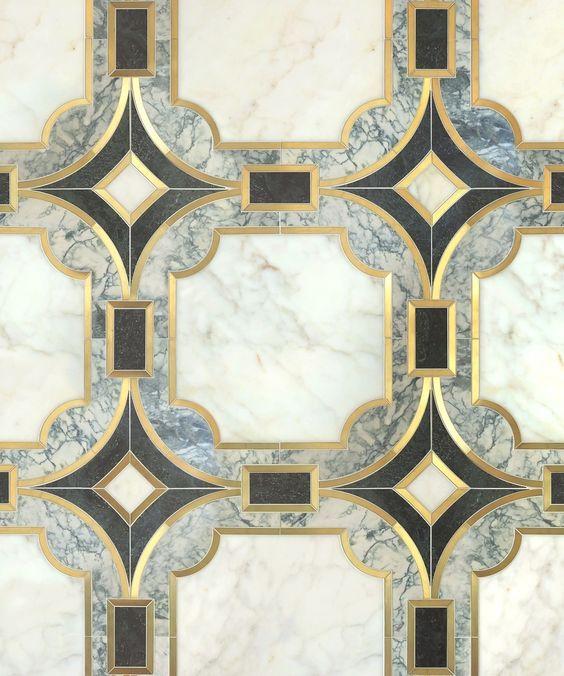 Vendôme/Odyssée系列以天然石材(Calacatta oro,Verde Dark&Verde Serpe)为特色,并由Mosaique Surface拉丝