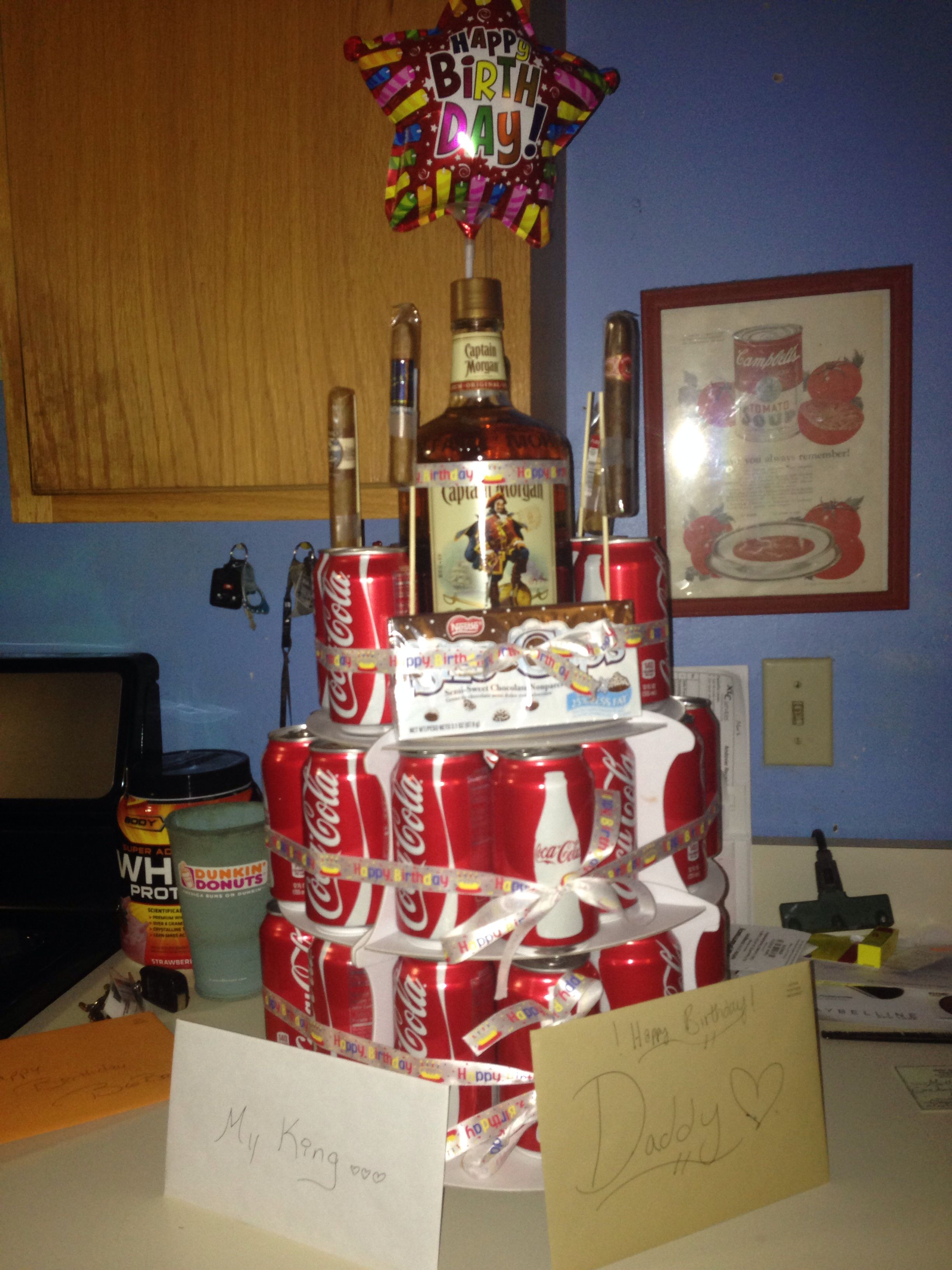 40 Cans Of Coke A Bottle Captain Morgan And Some Cigars Perfect Birthday Gift For My Dad