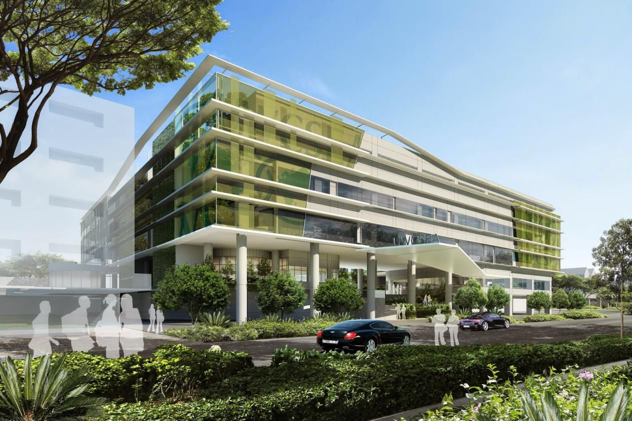 office block design. Modern Green Office Building Design Architecture Front Elevations With Glass Walls And Garden | MyoHomes Block
