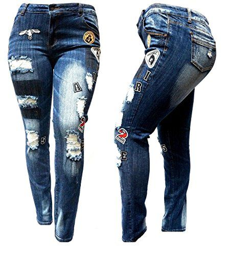 ca041f586b049 WOMENS PLUS SIZE Ripped Distressed Patches BLUE Denim Jea... https