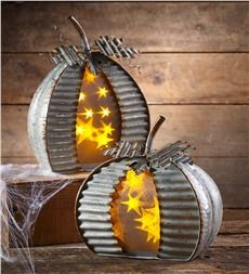 Lighted Galvanized Metal Pumpkin, Set of 2
