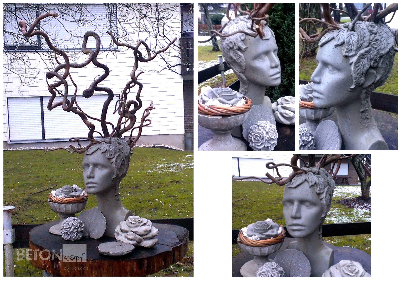 medusa betonskulptur holz haselnussholz knetbeton skulpturing head gartendeko concrete skulptur. Black Bedroom Furniture Sets. Home Design Ideas