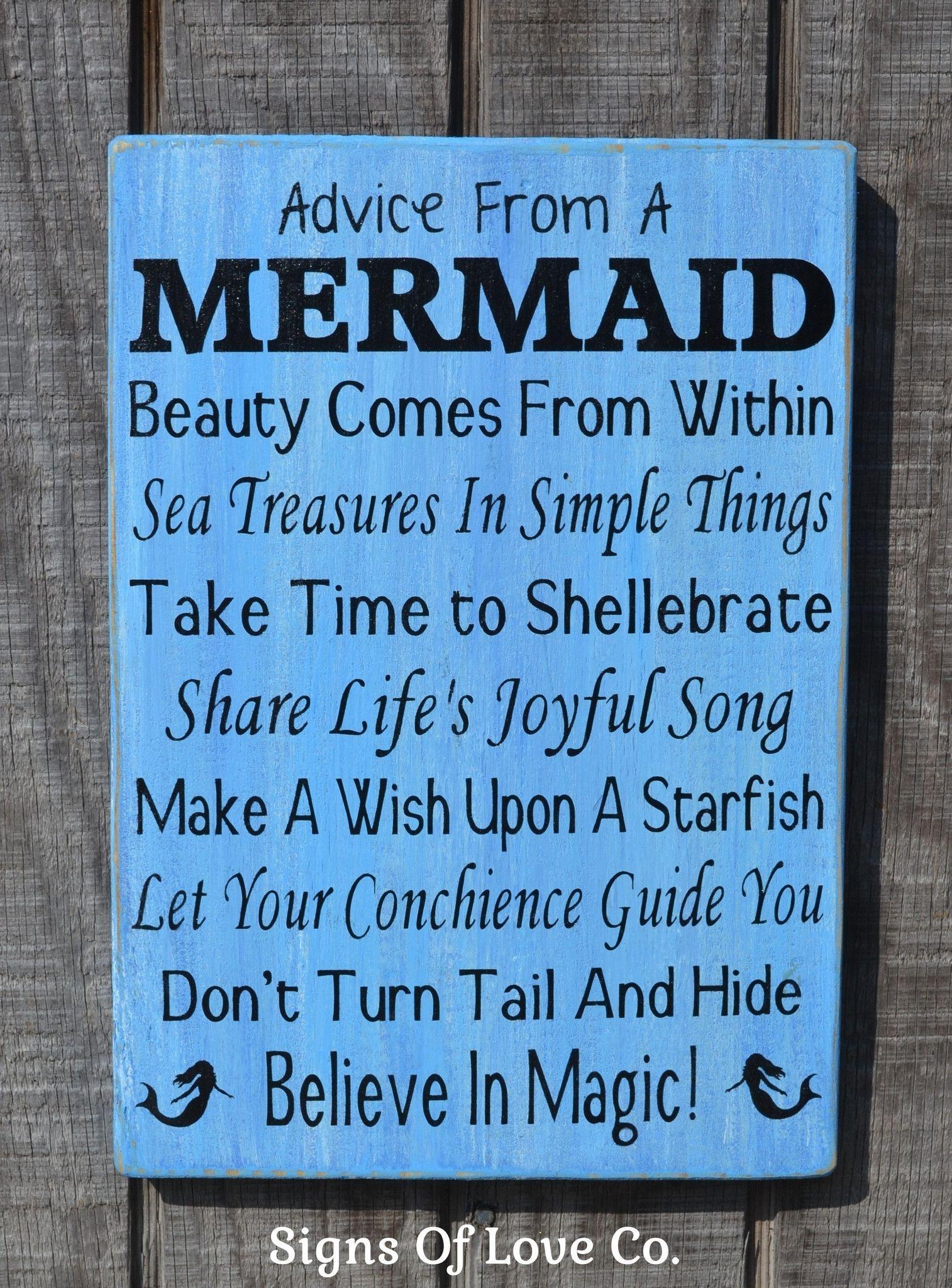 Bathroom Sign Sayings beach signs, beach decor, mermaid sign, advice from a mermaid