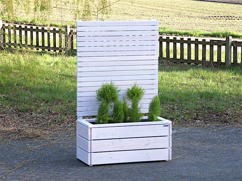 blumenkasten mit sichtschutz aus holz wei transparent made in germany holzweise. Black Bedroom Furniture Sets. Home Design Ideas