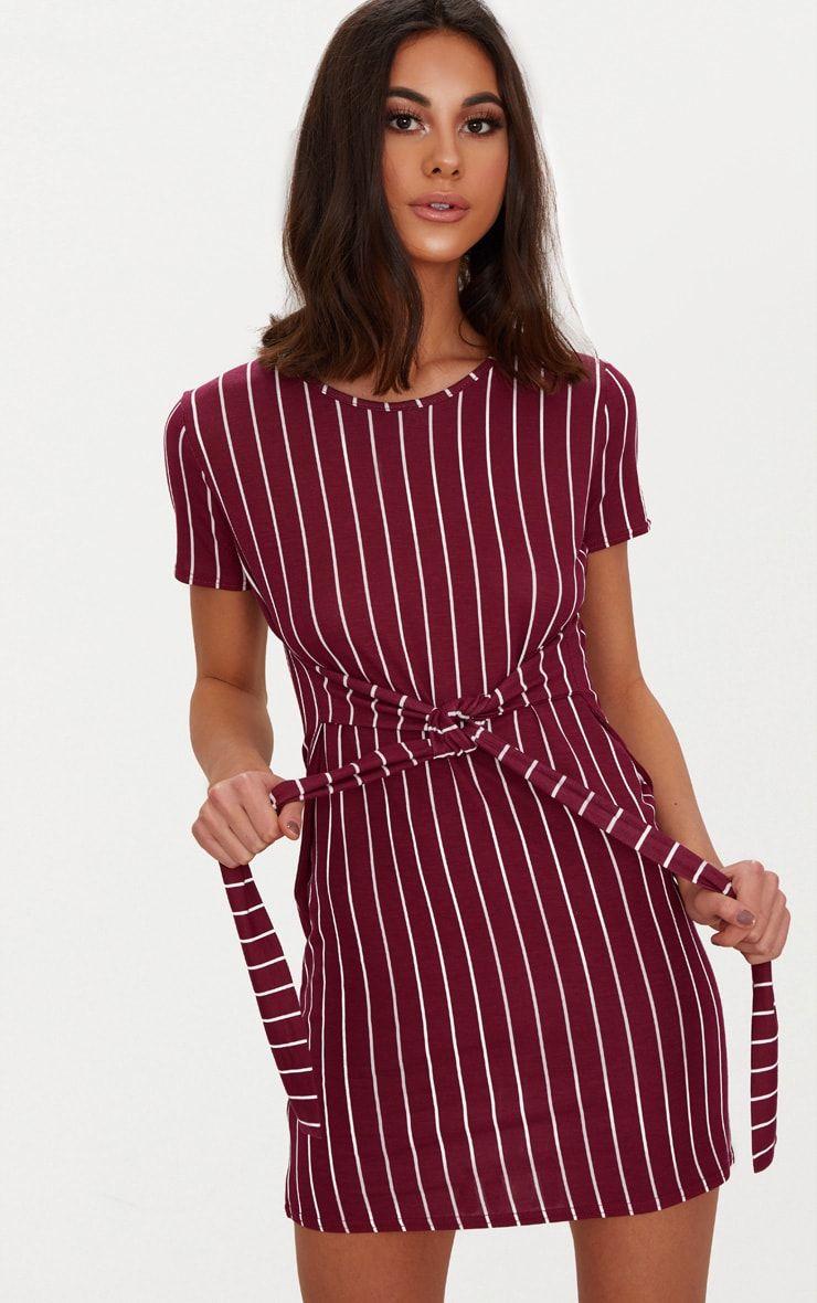 Burgundy stripe tie waist t shirt dress shop the range of