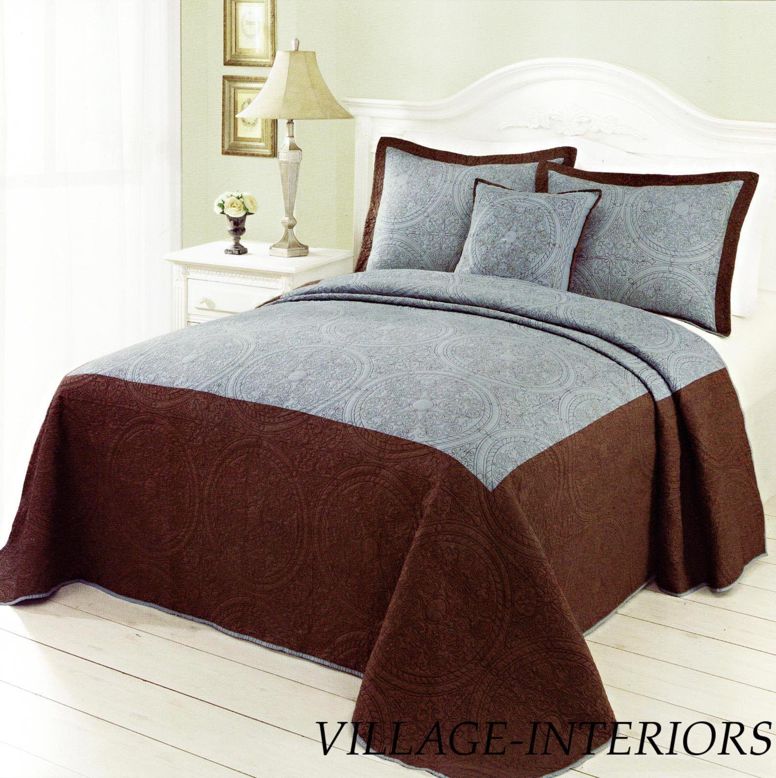 Medallion Blue Brown Cal King Quilt Huge Bedspread Shams Set 100 Cotton Bed Spreads Blue Brown Furniture