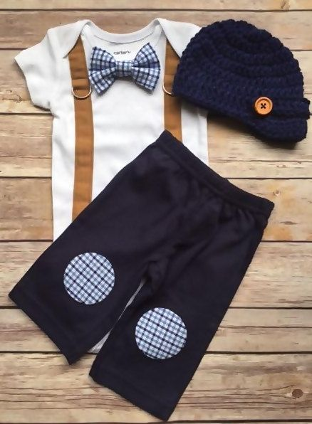 READY TO SHIP! Newborn size short sleeve bodysuit with blue plaid bow tie, camel suspenders, navy pants with blue plaid knee patches and crocheted navy