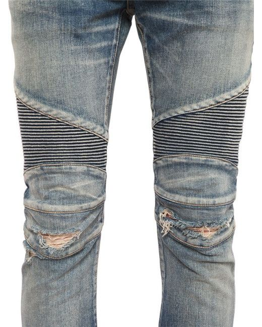 Balmain Blue Corrugated Denim Biker Jeans for men | Balmain