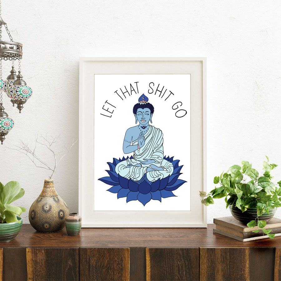 Canvas Painting Poster Meditating Buddha Statue Art Zen Living Room ...