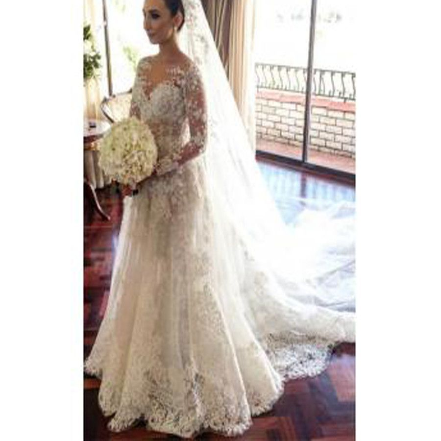 Classic lace aline wedding dress long sleeve with flowers