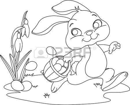 Leuk Easter Bunny Verbergen Eieren Kleurplaat Pasen Pinterest