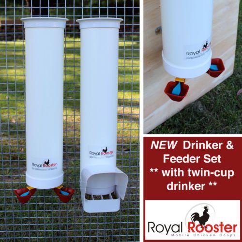 Royal Rooster Chicken Poultry Coop Waterer Drinker Feeder SET Twin Cups | eBay