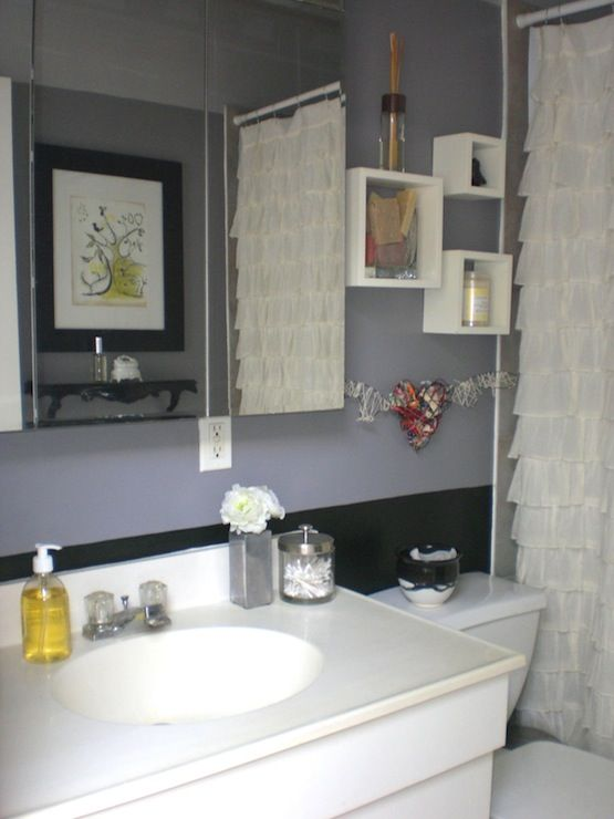 Bathrooms Ruffle Yellow Grey Gray Black White Bathroom Showing My