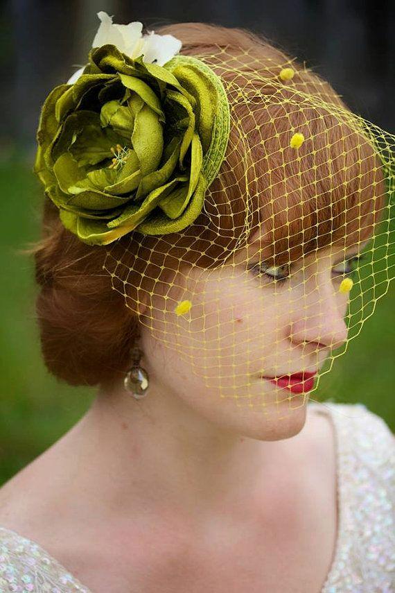 Chartreuse green rose fascinator garden party bridal ...