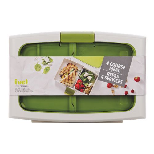 home presence fuel bento lunch box food container white green online only just because. Black Bedroom Furniture Sets. Home Design Ideas