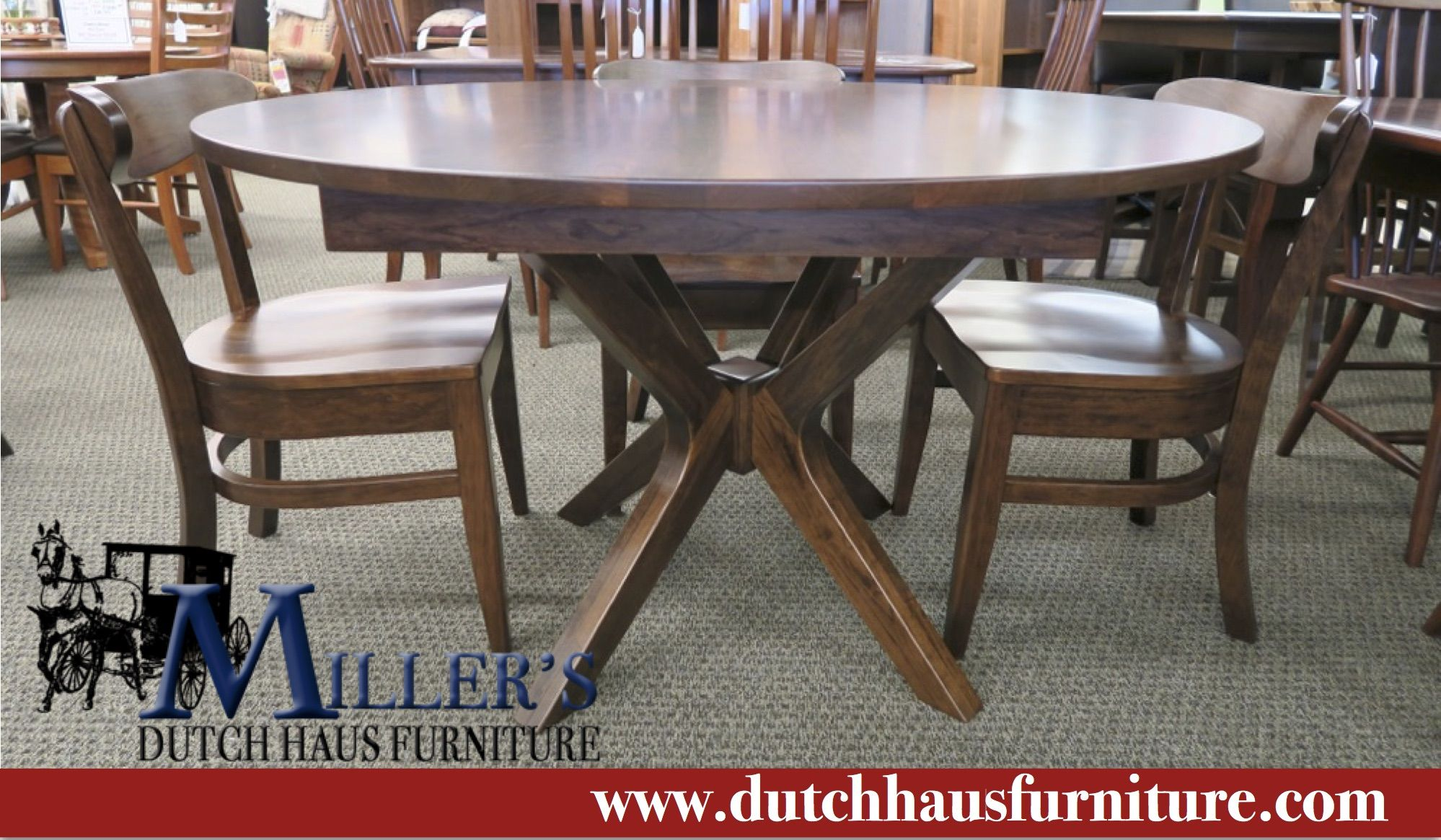 Our Vadsco Table Set Shown in a beautiful Rustic Cherry wood