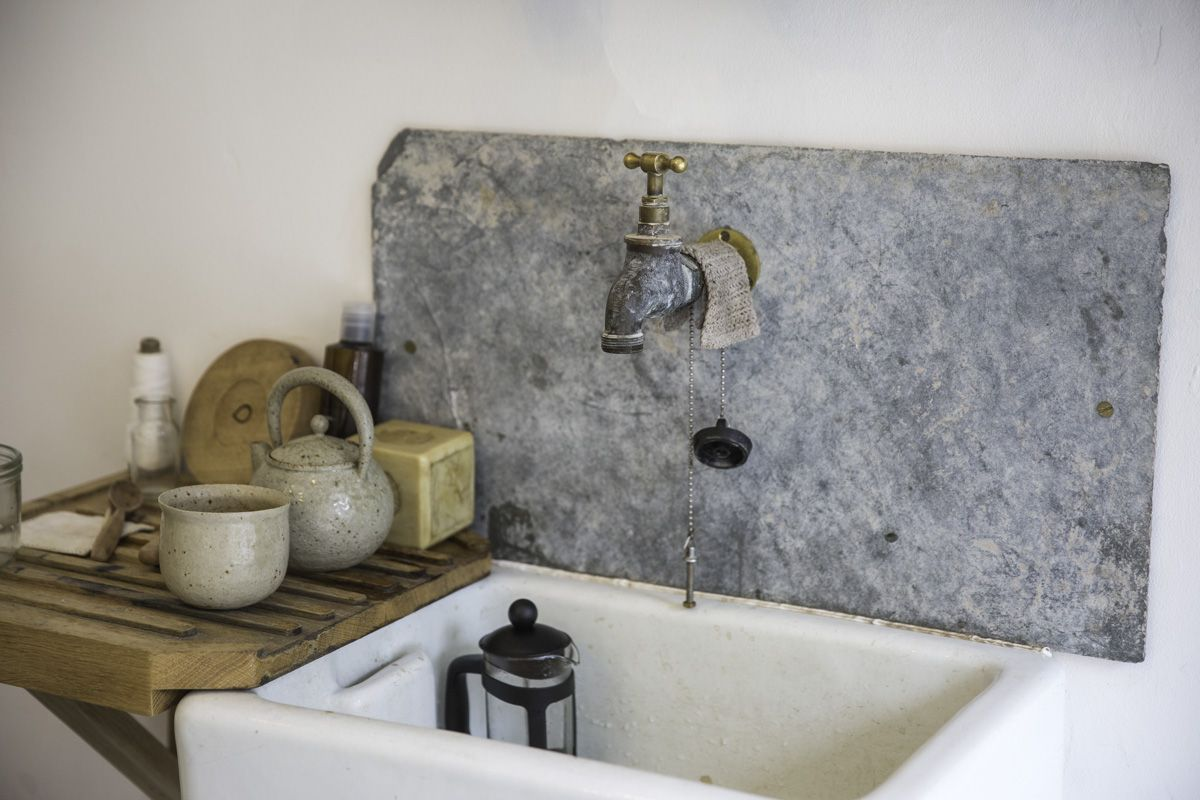 Utility Or Laundry Sink With Wooden Shelf