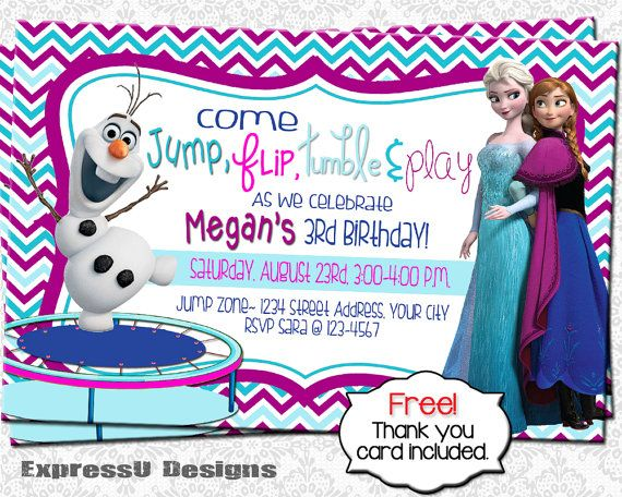 Trampoline Frozen Birthday Party Invitation    by ExpressUDesigns - invitation birthday frozen