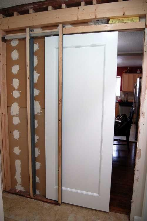 A Pocket Door Is A Sliding Door That Disappears When Fully Open Into A Compartment In Th Pocket Door Installation Sliding Bathroom Doors In Wall Sliding Door
