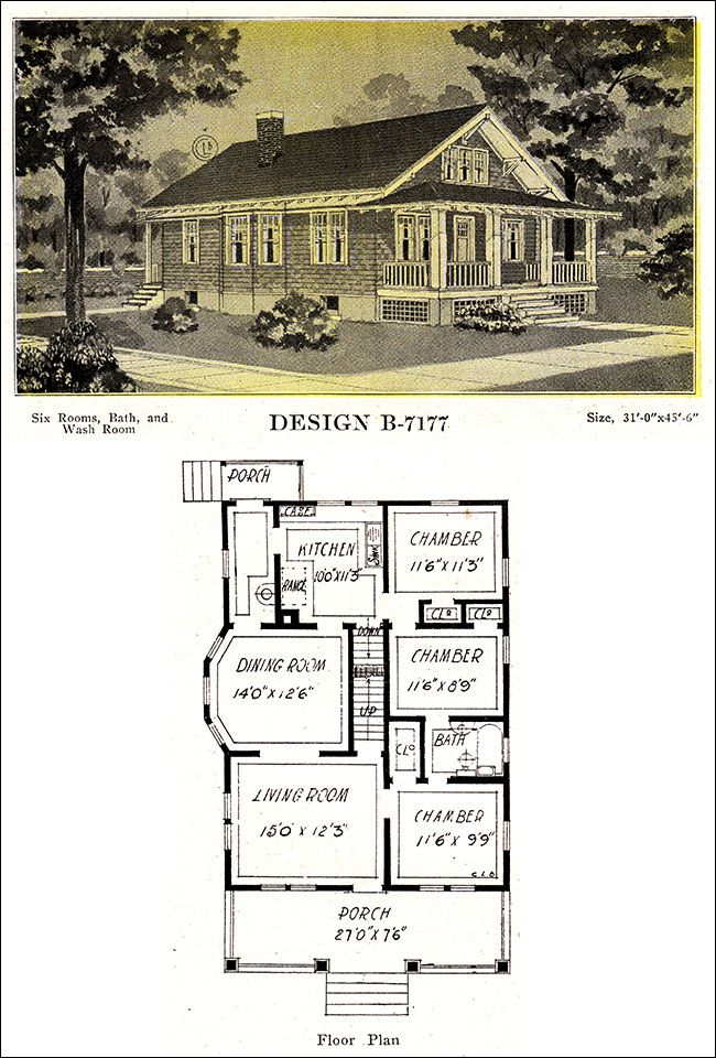 Classic 1918 craftsman style bungalow design shingled for Classic cottage house plans