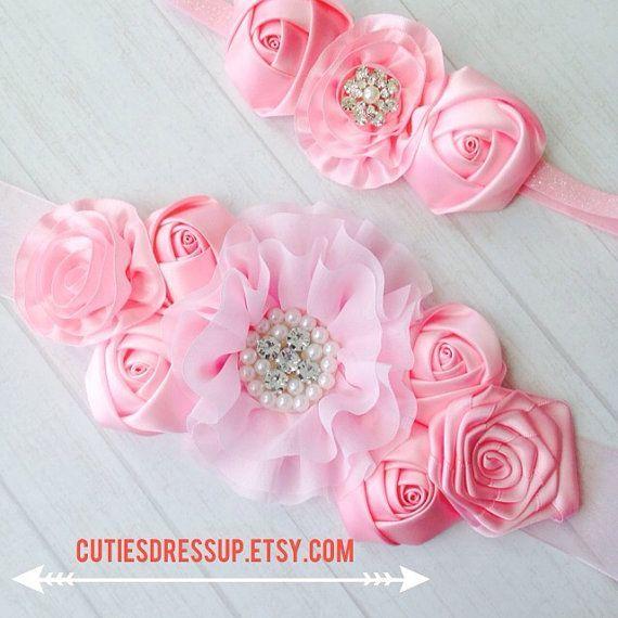 Pregnancy sash with matching headband  , meternaty sash belt , belly belt , ribbon belt , flower belt on Etsy, $32.00: