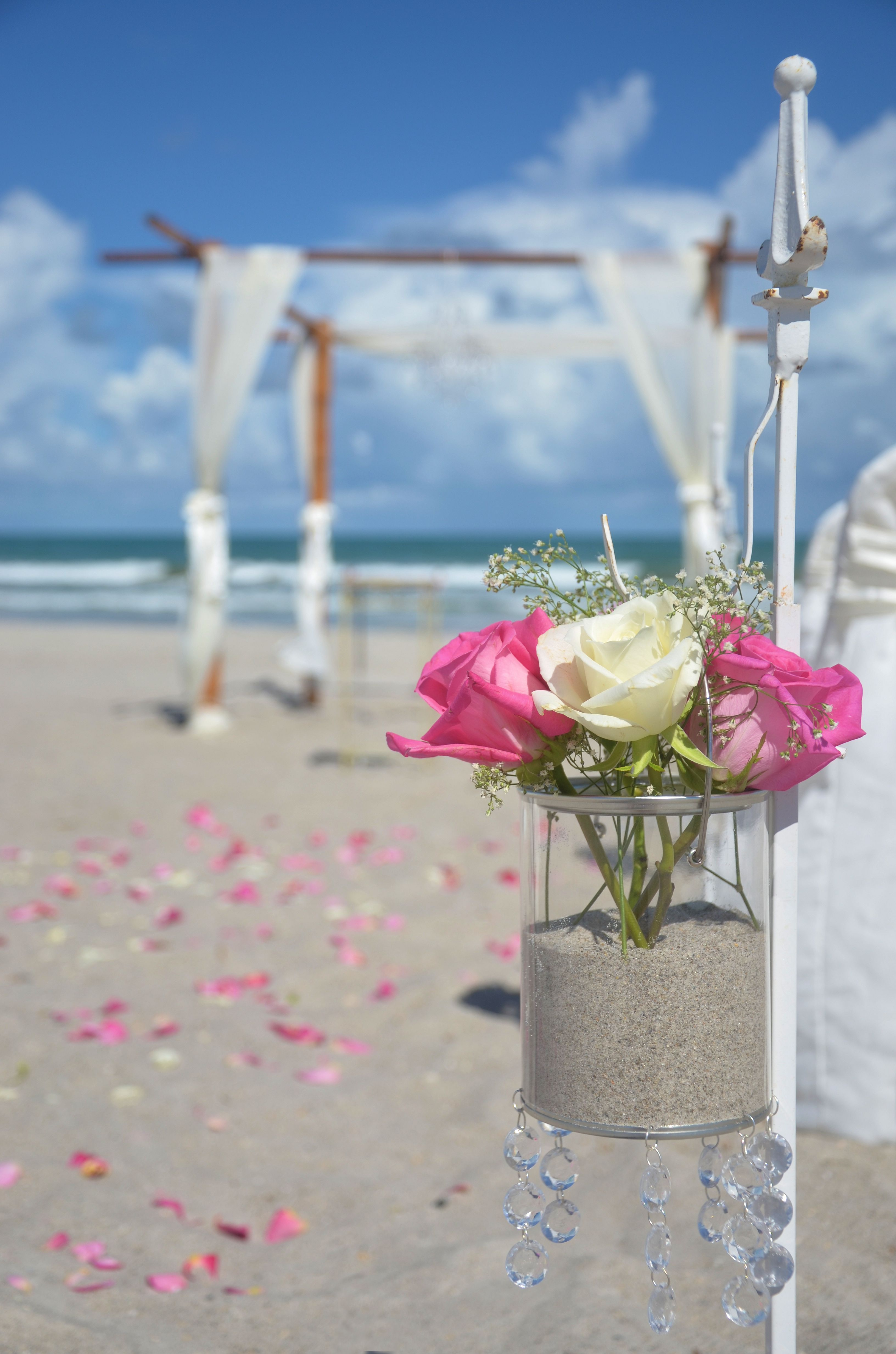 Vintage Beach Wedding Setup With Hanging Crystal Vases CentralFloridaWeddingGroup