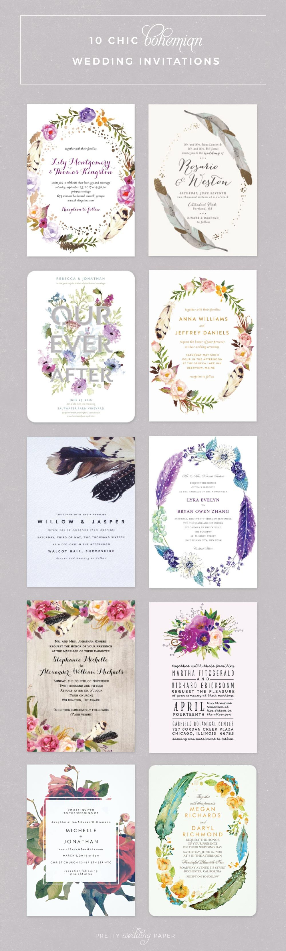 Top 10 Boho Wedding Invitations: Pretty Florals + Feathers ...
