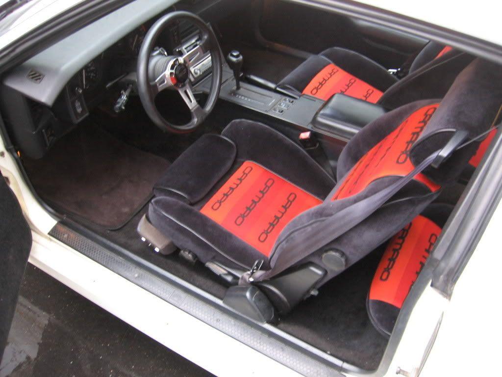 Red On Black Custom Seat Fabric Camaro Interior Shots Pinterest