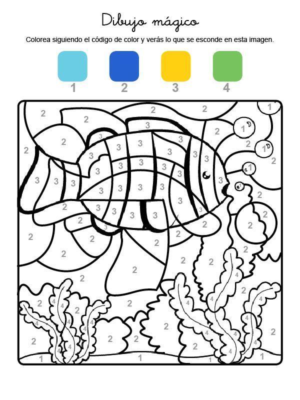 Imprimir Dibujo Magico De Un Pez Bajo El Agua Dibujo Para Colorear E Imprimir Dibujos Para Colorear Pez Para Colorear Colorear Por Numeros