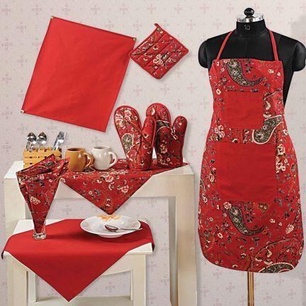 Swayam Kitchen Linen Set Maroon,Aprons & Potholders-Kitchen ...
