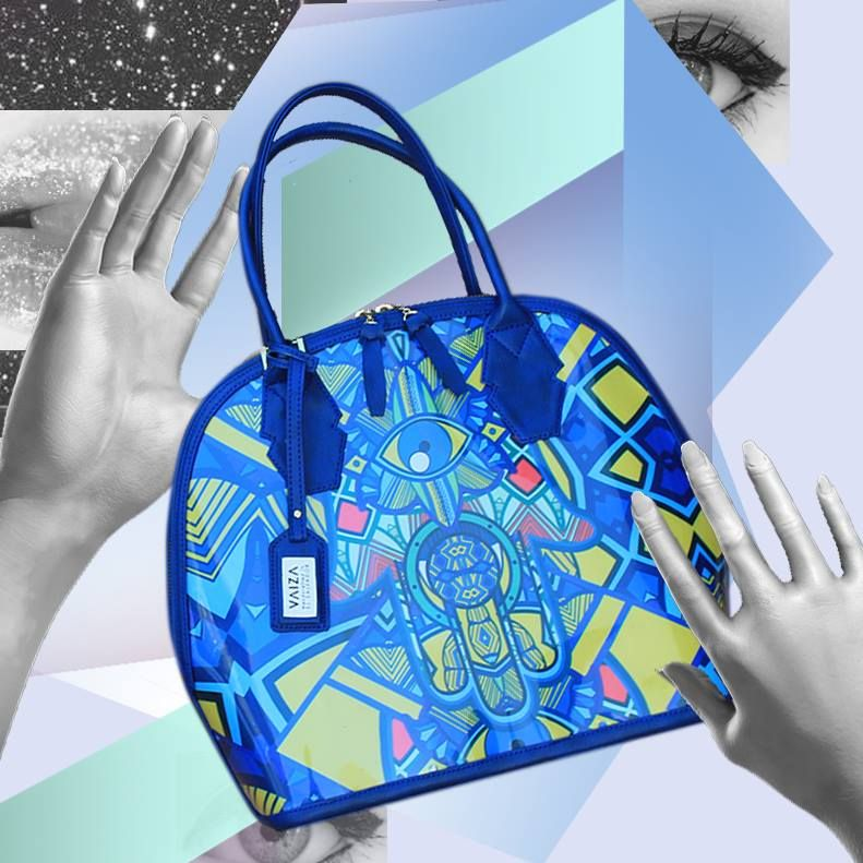 VAIZA Handbags Made In El Salvador I Love Every Color This Blue Leather Moon Shape Bag
