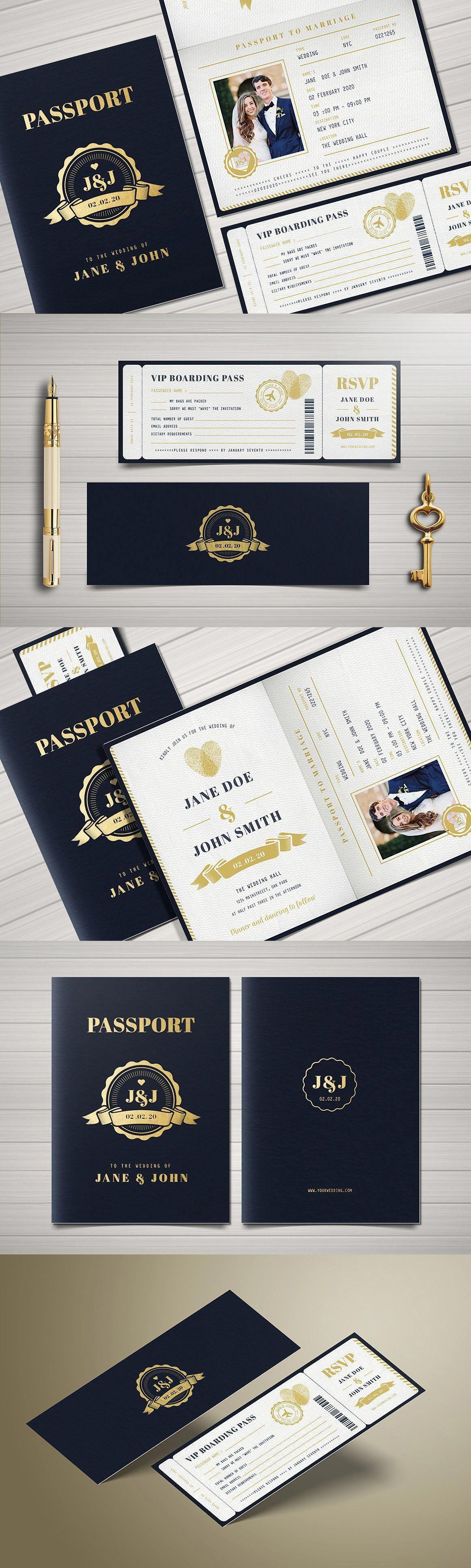 Passport Wedding Invitation Templates PSD AI