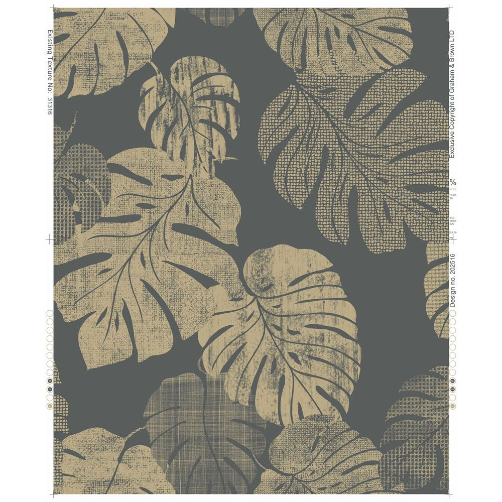 Wilko Wallpaper Cheese Plant Charcoal and Gold Plant