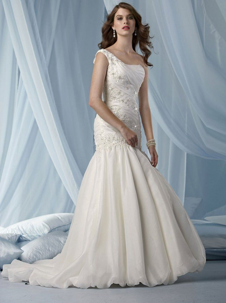 Fit & Flare One Shoulder Ruched Bodice Beaded Embroidery Organza ...