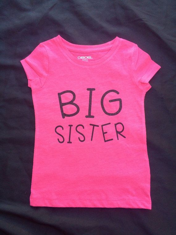 Big Sister T-shirt in Hot Pink & Sparkly Black