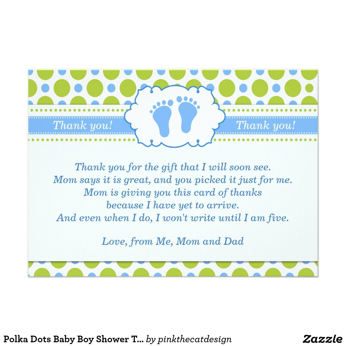 Polka Dots Baby Boy Shower Thank You Card Note Baby Shower Thank