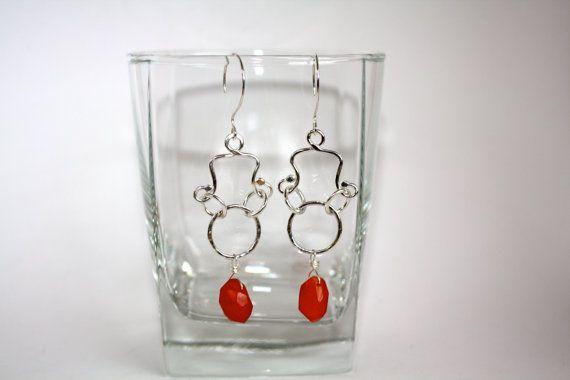 Fine Silver Earrings with Carnelian by Danielledunlap on Etsy, $47.00