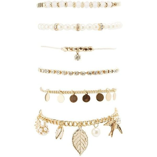 Charlotte Russe Embellished Charm Layering Bracelets - 6 Pack ($6) ❤ liked on Polyvore featuring jewelry, bracelets, gold, charm bangles, lobster claw clasp charms, lobster claw charms, lobster clasp charms and charlotte russe