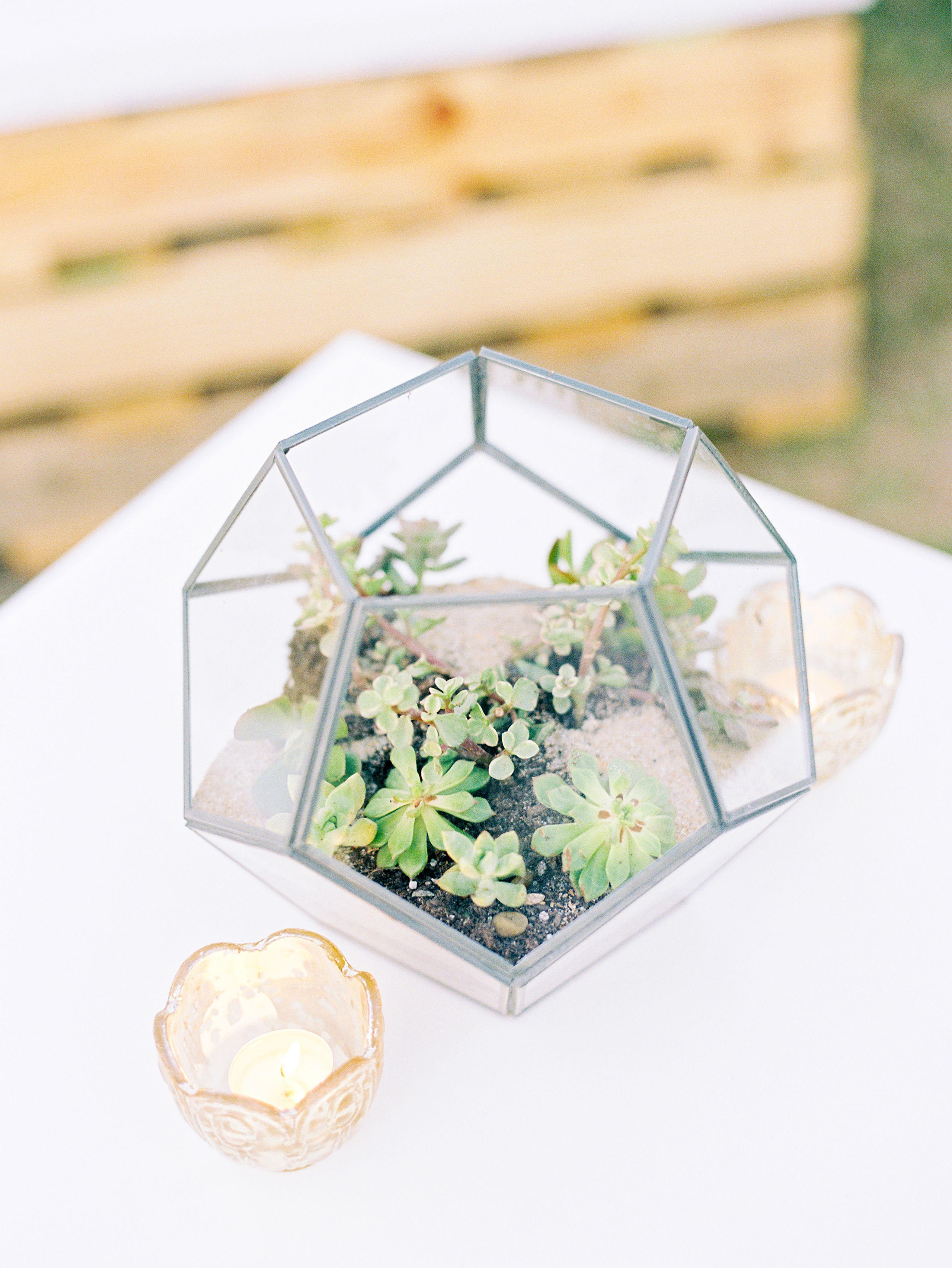 Geometric SucculentFilled Terrarium Wedding Centerpiece