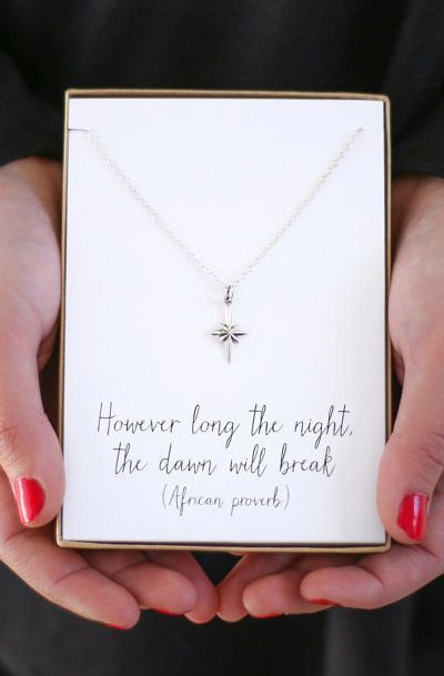 Silver Star Necklace - However long the night the dawn will break - Bereavement gift jewelry Sympathy Gift