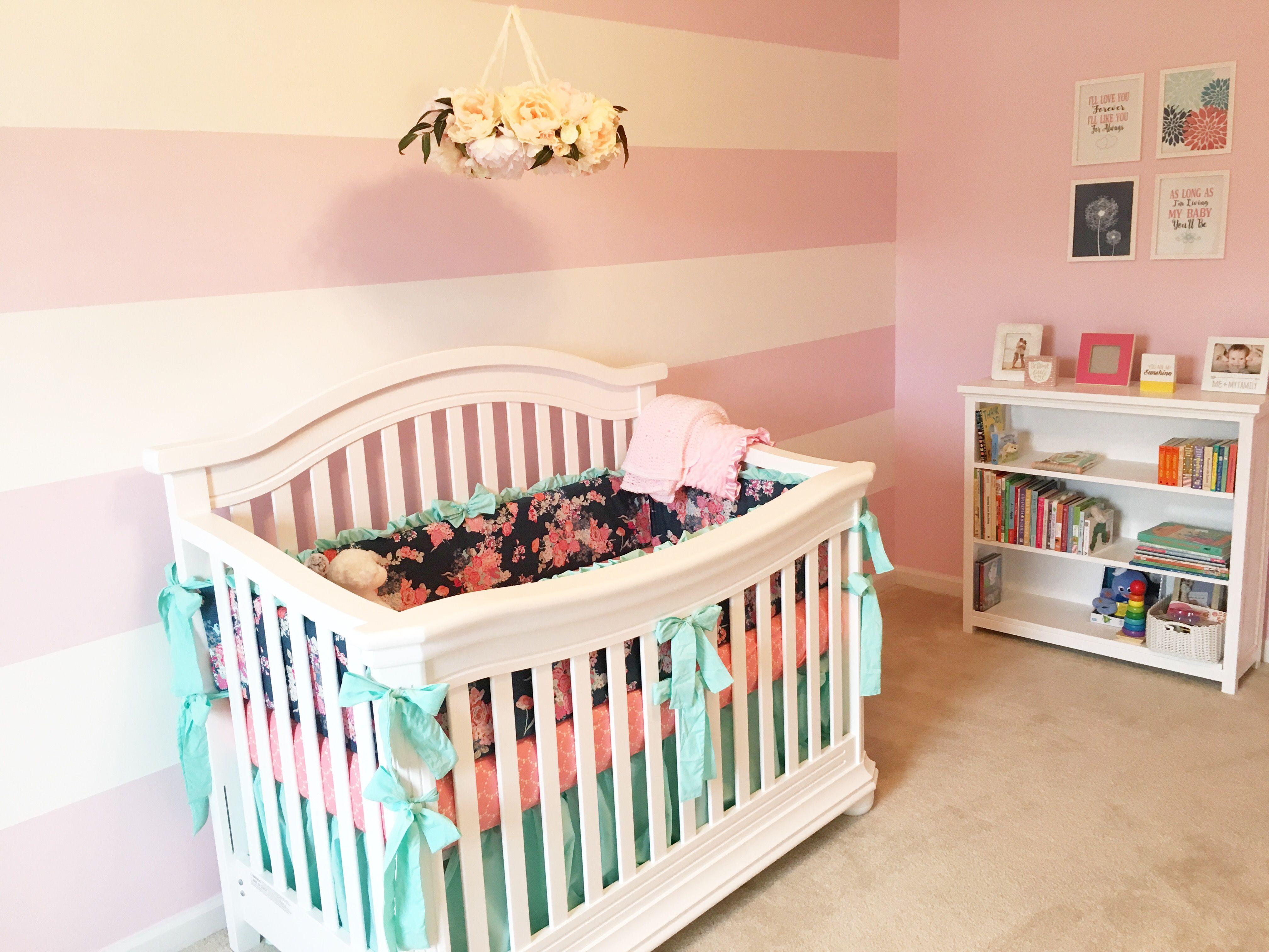 Navy Pink Turquoise Nursery Pink Striped Nursery Wall Flower Nursery Mobile Custom Nursery Navy Floral Nursery