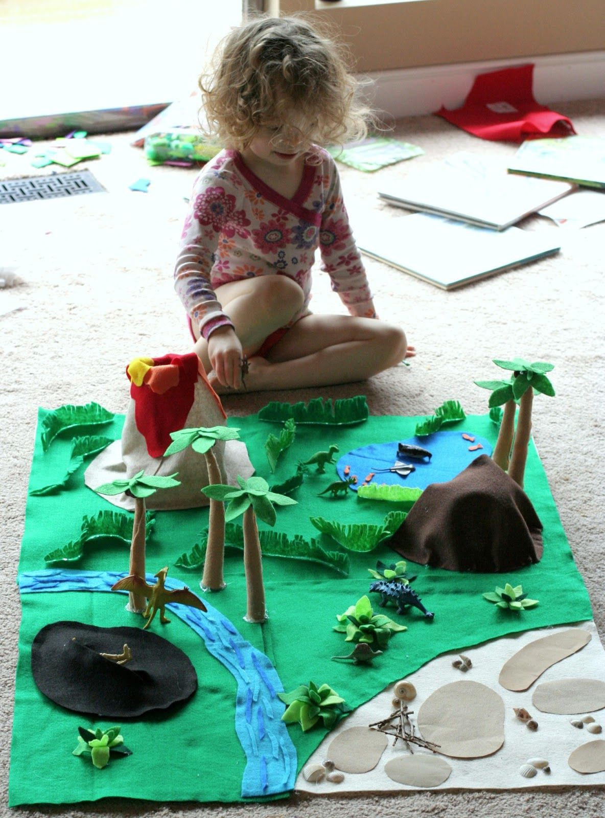 No Sew Dinosaur World Playmat Felt Play Mat Crafts For Kids Dinosaur Play