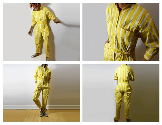 Late 80s Early 90s Vintage Striped Yellow Jumpsuit. The Classic Button Up One Piece Playsuit. Retro Onesie & Springtime Romper. In the Perfect Pastel. #NoMellowInThisYellow  *Brand New Vintage. Never Worn.*  I have another one in lavender purple. Check it out here: https://www.etsy.com/listing/226480081/jumpsuit-90s-romper-90s-jumpsuit-purple  Sizing: Womens X-Small/ Small - Height 56 and under.  For all other exact measurements PLEASE SEE BELOW:  TΘP Neck - ...